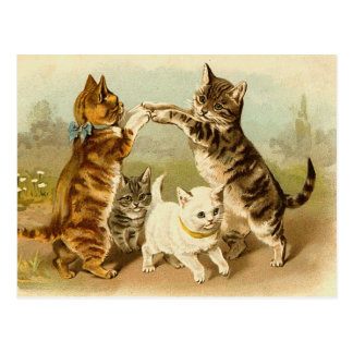 Katter som leker vintageillustrationen vykort