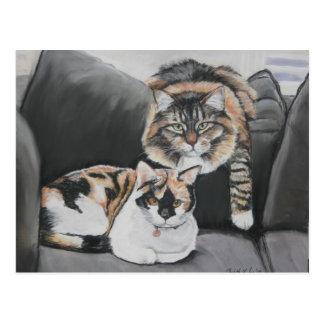 Katter som ut hänger konstvykortet vykort