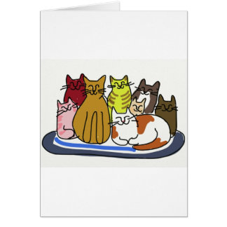 Kattfamilj Hälsningskort