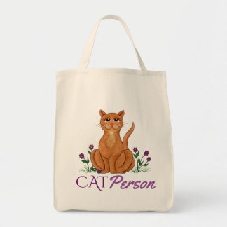 Kattperson - den lyckliga katttotot hänger lös mat tygkasse