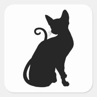 KattSilhouette Fyrkantigt Klistermärke