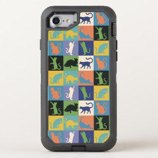 KattSilhouettetäcket kvadrerar i vintagefärger OtterBox Defender iPhone 7 Skal