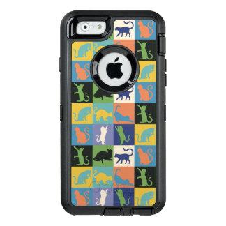 KattSilhouettetäcket kvadrerar i vintagefärger OtterBox Defender iPhone Skal
