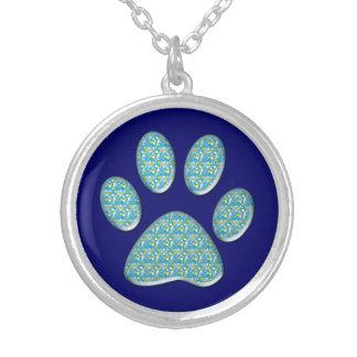 katttasstryck silverpläterat halsband