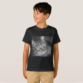 Katttryckbarns t-skjorta svart tee shirts