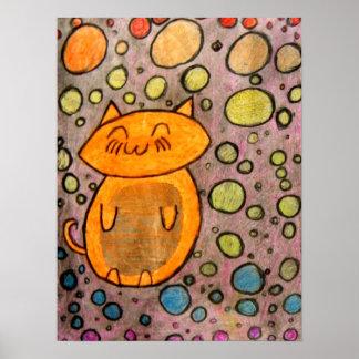 Kattungar med bubblar affisch