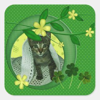 Kattunge, blommor, Shamrocks & gröntpolka dots Fyrkantigt Klistermärke
