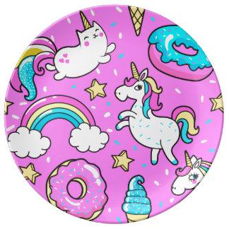 Kattunge för unicorn för regnbåge för rolig porslinstallrik
