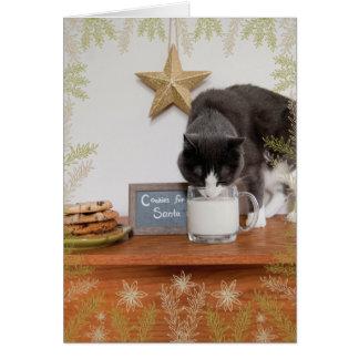 Kattunge kakor för Santa Hälsningskort