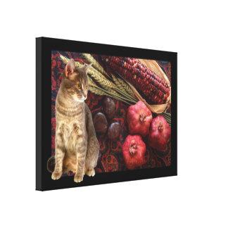 Kattunge och pomegranates canvastryck