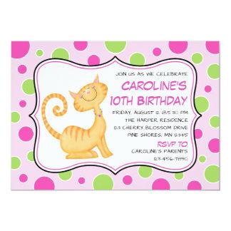 Kattunge- & polka dotsfödelsedaginbjudningar 12,7 x 17,8 cm inbjudningskort