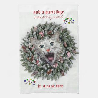 """Kattunge sjunger """"tolv dagar av jul """", kökshandduk"""