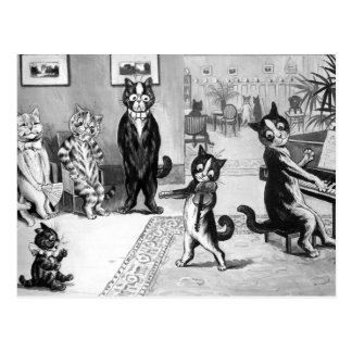 Kattunge som ger en högläsning vykort