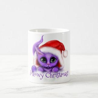 KattungeMeowy för helgdag purpurfärgad jul Kaffemugg