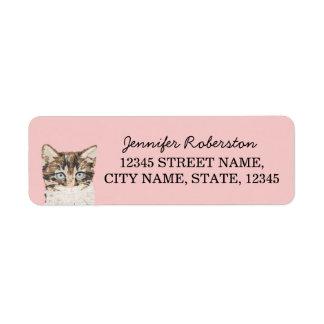 Kattungereturetiketter - för rosor katt returadress etikett