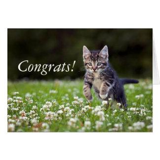 Kattungespring till och med klöver hälsningskort