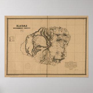Kauai 1878, vintageHawaii karta Poster