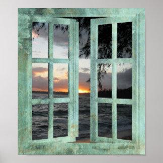 Kauai för öppet fönster solnedgång poster