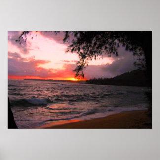 Kauai solnedgångkanvastryck poster