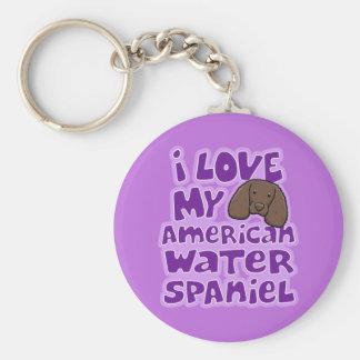 Kawaii älskar jag min amerikanvattenSpaniel Rund Nyckelring