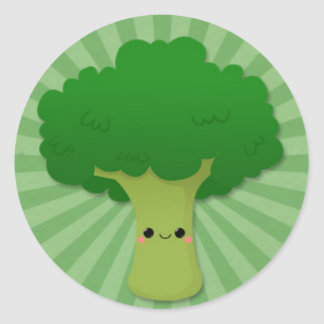 Kawaii broccoli på gröna Starburst Runt Klistermärke