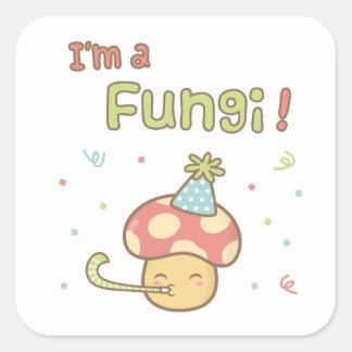 Kawaii festar jag den förmiddagen svampar fyrkantigt klistermärke