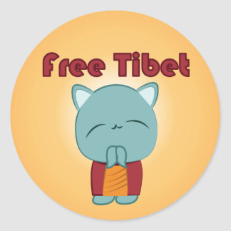 Kawaii fria Tibet kattungeklistermärkear Runt Klistermärke