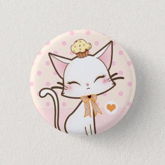 Kawaii gullig vitkatt med muffin mini knapp rund 3.2 cm