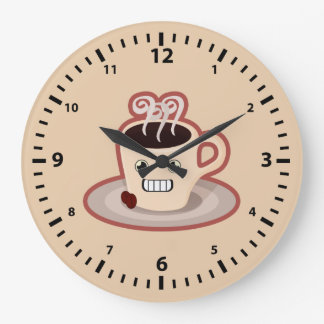 Kawaii kaffe stor klocka