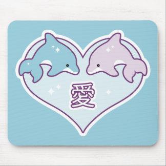Kawaii kärlekdelfiner musmatta