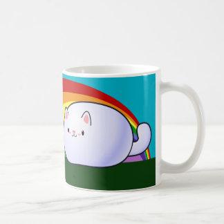 Kawaii katt och regnbåge vit mugg