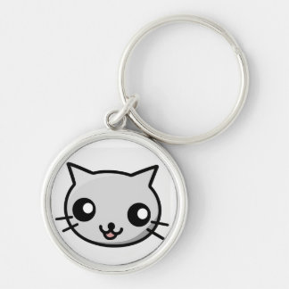 Kawaii kattnyckelring rund silverfärgad nyckelring