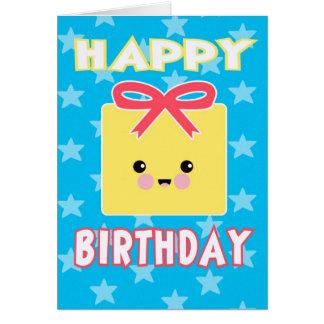 Kawaii närvarande grattis på födelsedagenkort hälsningskort