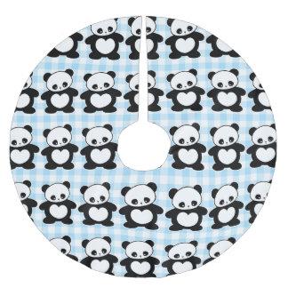 Kawaii panda julgransmatta borstad polyester