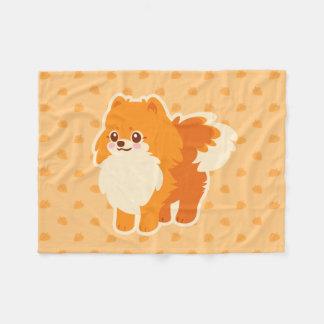 Kawaii Pomeranian tecknad hund Fleecefilt