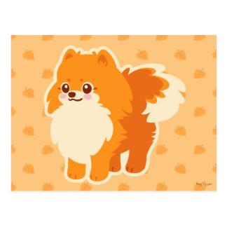 Kawaii Pomeranian tecknad hund Vykort