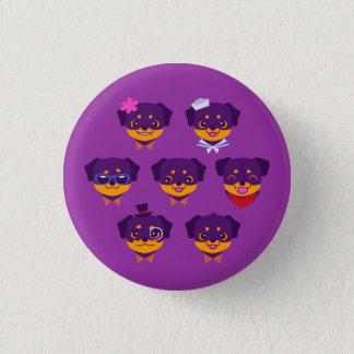 Kawaii purpurfärgat Rottweiler valpmönster Mini Knapp Rund 3.2 Cm