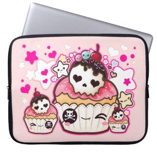 Kawaii skallemuffin med stjärnor och hjärtor laptop datorskydd