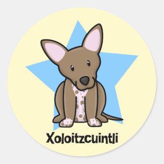 Kawaii stjärna Xoloitzcuintli Runt Klistermärke