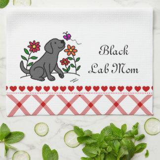 Kawaii svart Labrador tecknad Kökshandduk