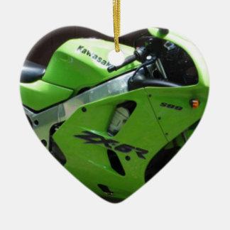 Kawasaki gröna Ninja ZX-6R Motocycle, gatacykel Julgransprydnad Keramik