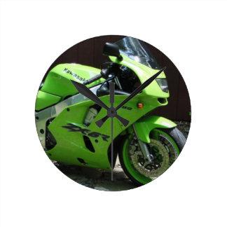 Kawasaki gröna Ninja ZX-6R Motocycle, gatacykel Rund Klocka