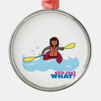 Kayaking flicka julgransprydnad metall