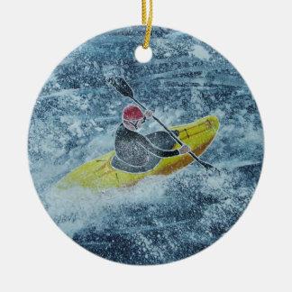 Kayaking prydnad julgransprydnad keramik