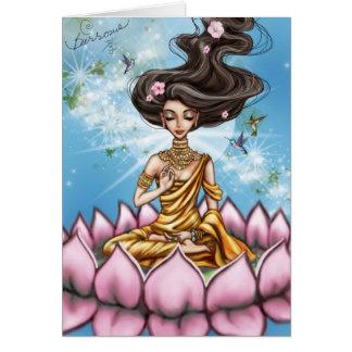 Kayla mediterar hälsningskort