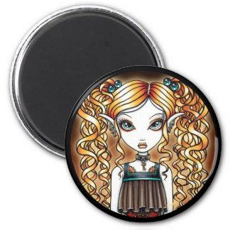 """Kayla"" Steampunk felikt slut upp magneten Magnet Rund 5.7 Cm"