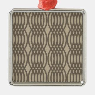 Kedjar brunt marockanskt för trendig mönster silverfärgad fyrkantigt julgransprydnad