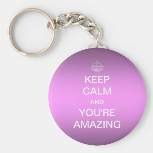 Keep Calm, Amazing (Pink) Rund Nyckelring