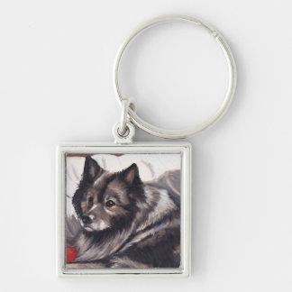 Keeshondhundkonst Keychain Fyrkantig Silverfärgad Nyckelring