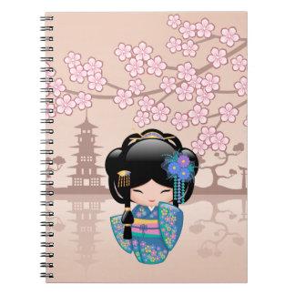 Keiko Kokeshi docka - flicka för blåttKimonoGeisha Anteckningsbok